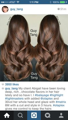 Gorgeous hair by Guy Tang Pelo Chocolate, Chocolate Brown Hair Color, Mocha Chocolate, Chocolate Glaze, Hair Caramel, Guy Tang Hair, Mocha Hair, Brazilian Hair Wigs, Hair Color And Cut