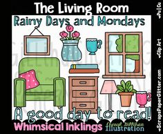 The Living Room Clip Art - Commercial Use, Digital Image, Png, Clipart - Instant Download - Furniture, Lamp, Word Art, Vase, Tea Cup by ResellerClipArt on Etsy