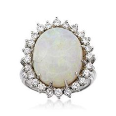 C. 1960 Vintage Opal Ring With 1.00 ct. t.w. Diamonds In 14kt White Gold. Size 6.75