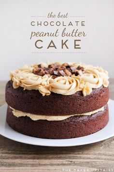 The best chocolate peanut butter cake! Click through for recipe!