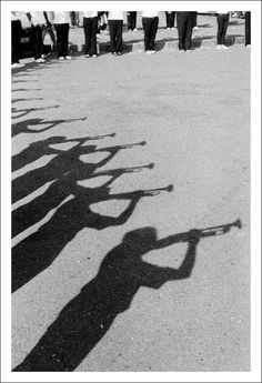"""trumpeters. """"The marching band of Gadjah Mada University, practicing on a fine Sunday morning."""""""