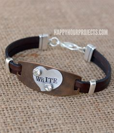 Mixed Media Bracelet Stamped And Riveted Metal On Leather At Www Hyhourprojects