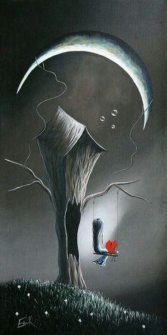 Tim burton style.. Little girl red heart