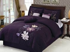 "7 Piece Queen Purple Floral Applique Comforter Set by KingLinen. $59.99. This designer comforter set featuresfloral applique and embroidery on soft microfiber fabric. Great for any bedroom.  3 decorative pillows included.FeaturesSize: QueenColor: PurpleThis set includes:1  Comforter (86""x86"")2  Shams (20""x26"")1  Bedskirt(60""x80""+14"")3  Decorative Cushions"