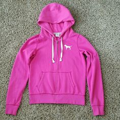 PINK Full Zip Hoodie Pink & White Worn several times, still in really great condition!  This is one of my more favorite colors.  Pink full zip hoodie, stitched on white PINK dog on the front, stitched on white LOVE PINK on the back. PINK Victoria's Secret Jackets & Coats