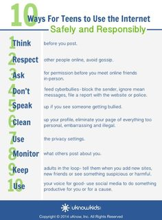 10 Internet Safety Tips for Teens and Tweens - The Wired Homeschool Clear numbered lists are often very helpful for children to learn. These ten steps are easy to understand and are very good pieces of advice. Social Media Safety, Social Skills, Social Media Etiquette, Internet Safety For Kids, Safe Internet, School Safety, Kids Safety, Rn School, School Stuff