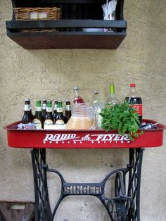 Red Wagon Serving Bar from wagon and sewing table base