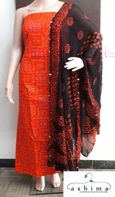 Code:0910179 - Price INR:2000/- , Printed Cotton Unstitched Suit With Kantha Work And Bandini Chiffon Dupatta.