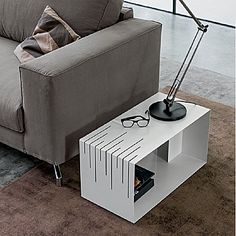 Contemporary side table / lacquered metal / rectangular / with storage compartment - Dall'Agnese Industria Mobili Contemporary Side Tables, Contemporary Furniture, Contemporary Style, Modern Rustic, Mid-century Modern, Storage Compartments, Mid Century Modern Furniture, Modern Room, Metal