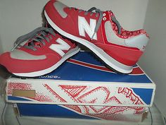 New Balance Men's 574 Paisley Casual Shoes EUC size 10.5 red/grey suede medium