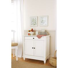 Better Homes and Gardens Autumn Lane Storage Cabinet, White add butcher block top and pull out shelf for home office Wooden Bathroom Cabinets, Antique Kitchen Cabinets, Garden Storage Cabinet, Tall Cabinet Storage, Storage Cabinets, Small Kitchen Storage, Kitchen Benches, White Shelves, White Doors