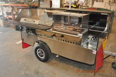 """TopDogCarts.com - TD 24 model cart with two sneeze guards and 24"""" griddle"""