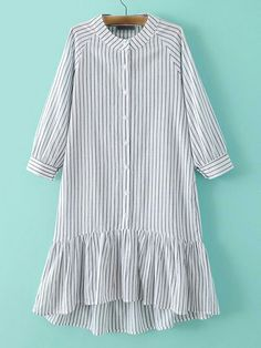 To find out about the Grey Stripe Buttons Front Ruffle Hem Dress at SHEIN, part of our latest Dresses ready to shop online today! Muslim Fashion, Modest Fashion, Hijab Fashion, Fashion Dresses, Kurta Designs, Blouse Designs, Simple Dresses, Casual Dresses, Hijab Stile