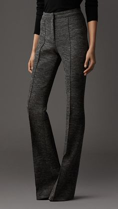 Melange Wool Flared Trousers | Burberry