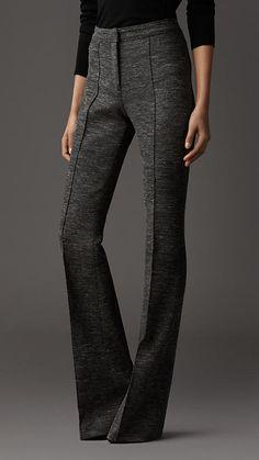 Melange Wool Flared Trousers   Burberry