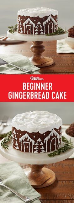 Winter White Beginner Gingerbread Cake - Make your favorite gingerbread cake recipe, then use simple buttercream piping techniques to decorate the side of your cake with cute snow-covered houses and trees. Use the tip of a spatula to add snowy swirls into Xmas Food, Christmas Sweets, Christmas Cooking, Noel Christmas, Italian Christmas, Christmas Cakes, Holiday Treats, Holiday Recipes, Gingerbread Cake