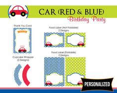 Complete Printable Party Package in red car theme. Perfect to decorate your little boys birthday party!    Basic crafting supplies required for