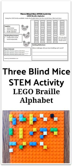 LEGO Braille Alphabet : Three Blind Mice STEM Activity - This activity has a planning and reflections printable. It gives your children at home or your students at school a chance to explore Braille. Math Activities For Kids, Alphabet Activities, Teaching Kids, Tactile Activities, Communication Activities, Poetry Activities, Health Activities, Braille Alphabet, Three Blind Mice