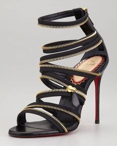Christian Louboutin Unzip Leather Red Sole Booty Red Sole Sandal - every girl must have one! Not  every foot can be placed into this shoe and look good.