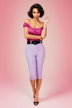 Deadly Dames Capri Pants in Lavender
