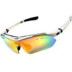 Allnice® Unisex Anti Fog UV400 Bike Bicycle Cycling Eyewear Sunglasses Waterproof Sport Outdoor Glasses Road Mountain Glasses Goggle (White) ✔ Lens color: Black UV400 sunny lense, dazzle color HD l…