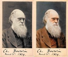 Charles Darwin - original photo and colorized