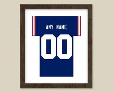 New York Giants print  Jersey Design   by CSportImages on Etsy