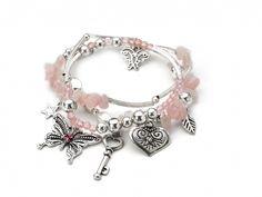 Light pink beaded stretch charm bracelet