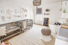 A Gender Neutral Nursery for Twins It's a whole different ballgame when you're planning a nursery for boy/ girl twins. The usual pink and blue just won't cut it. Sow how to create a space that feels whimsical and fun without an explosi. Baby Cribs For Twins, Twin Baby Rooms, Baby Boy Bedding Sets, Nursery Twins, Baby Bedroom, Girls Bedroom, Baby Boys, Nursery Ideas, Elephant Nursery