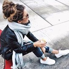 cute fall outfit with leather jacket, white converse and jeans. Shop designer…