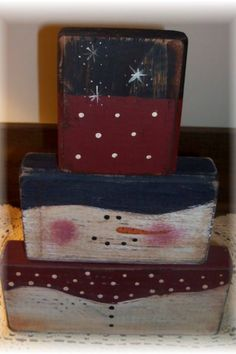Snowman wood blocks