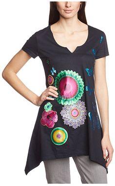 #Desigual Shirt - Modell Karine, Muster: floral, exotisch und Mandala, schwarz. Asmmetrischer Schnitt.