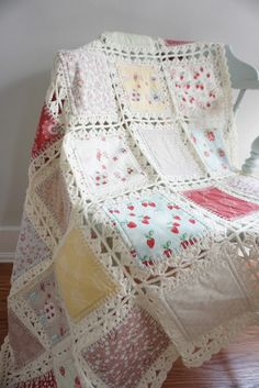 Fabric & Crochet Quilt. Surprisingly easy and GORGEOUS!
