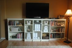 """Grace Abound: """"Built-in"""" Billy Bookcases - our first Ikea hack! DIY bookshelves on a budget.Let Grace Abound: """"Built-in"""" Billy Bookcases - our first Ikea hack! DIY bookshelves on a budget. Ikea Billy Bookcase Hack, Billy Bookcases, Bookcase Tv Stand, Bookcase Closet, Bedroom Bookcase, Bookshelf Door, Bookcase White, Closet Rod, Room Shelves"""