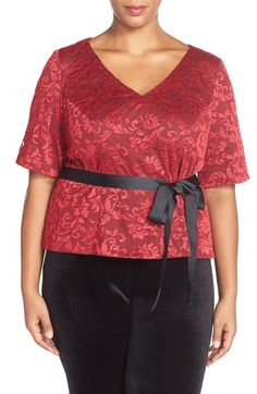 Alex Evenings Belted V-Neck Lace Blouse (Plus Size) available at #Nordstrom