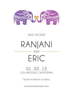Elephant Printable SAVE THE DATE Modern by GoldenLidCraftsCo