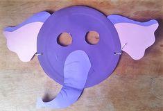 Maske aus Pappteller Elefant Hand im Glück