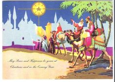 VINTAGE 1930 CHRISTMAS GREETING CARD THREE WISE MEN THEMED LITHOGRAPH GOLD PAINT
