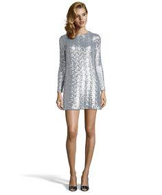 silver sequined 'Laurel' long sleeve v-back shift dress