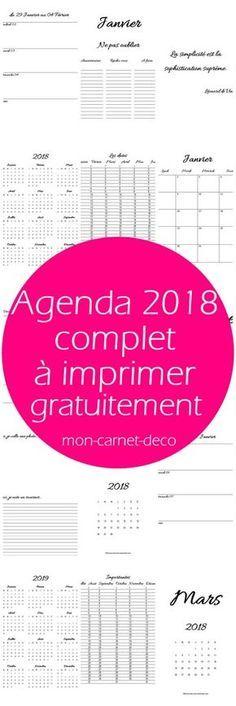 L'agenda 2018 pour planner ou bullet journal à imprimer gratuitement 2 #bulletjournal #planner #freeprintable