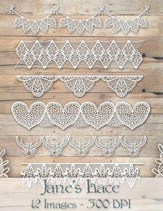 Wedding Lace Border Clipart by DigitalArtsi on @creativemarket