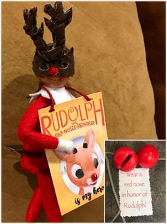 Elf on the shelf wearing reindeer mask and tail — note to wear red noses in honor of Rudolph!