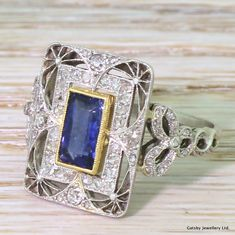 Edwardian 1.18 Carat Natural Burmese Sapphire & Diamond Ring, French, circa 1910 - Gatsby Jewellery