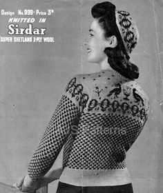 This PDF knitting pattern is for a Great Design of a Retro Fair Isle Jumper with a Matching Cap with a Fabulous Peacock Design. They are both knitted in vintage 3 ply wool, so use a modern 4 ply and do knit a sample tension square first to ensure you get the correct sizing. To fit bust size 34 . **Lots of other Retro and Fair Isle Patterns on offer, please take a look!** Your PDF pattern will be available as an instant download from etsy upon confirmation of your payment. You will require…