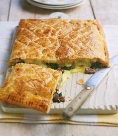 Baked Brie and wild mushroom tart recipe. Use ready-rolled puff pastry to make this easy vegetarian tart recipe. Try using Taleggio or Camembert instead of Brie, and thyme or lemon thyme instead of rosemary. Tart Recipes, Cooking Recipes, Cheese Recipes, Vegetarian Tart, Vegetarian Dinners, Vegan Pie, Mushroom Tart, Savory Tart, Savoury Pies