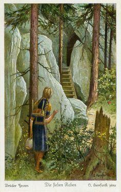 Oskar Herrfurth, Seven Ravens Fairytale Cottage, Fairytale Art, Andersen's Fairy Tales, Children's Book Illustration, Book Illustrations, Classic Fairy Tales, Vintage Fairies, Book Cover Art, Stories For Kids