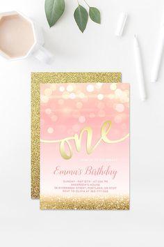 Blush Pink And Gold Birthday Invitation Girl First Birthday