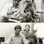 Mark Hamill, Carrie Fisher and Harrison Ford, 1977.