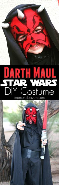 DIY Darth Maul Star Wars Costume - directions for making an easy Darth Maul mask to complete a whole Star Wars Halloween costume look! Handmade Halloween Costumes, Star Wars Halloween Costumes, Diy Couples Costumes, Diy Costumes, Diy Halloween, Costume Ideas, Halloween Halloween, Halloween Treats, Halloween Decorations