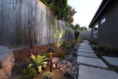 Side yard. lighting a mid-century modern landscape design
